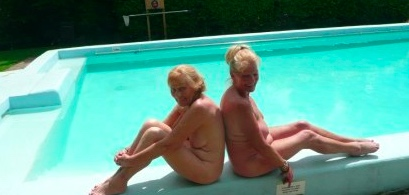 Naturists by the pool at Fiveacres Country Club in Hertfordshire